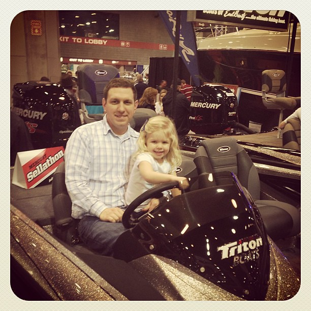 Checking out boats at the Nashville Boat Show.