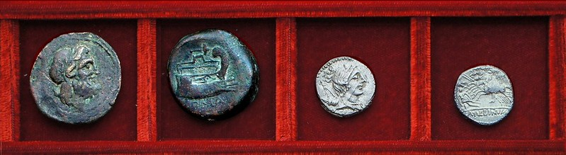 RRC 335 mallet Postumia semis, RRC 335 A.ALBINVS Postumia, Ahala collection, coins of the Roman Republic
