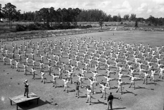 Brooklyn Dodgers doing calisthenics at Spring Training: Vero Beach, Florida