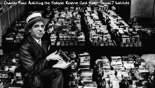 Charles Ponzi in Gold Vault by Colonel Flick/WilliamBanzai7