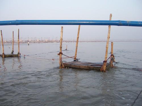 Bathing platform at the Sangam, Kumbh Mela