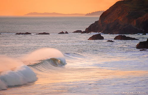 ocean california sunset peeling waves pacific shoreline surfing surfers curling mavericks rodeobeach