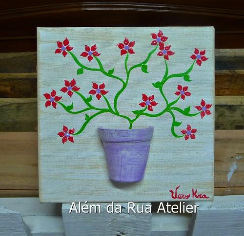 Tela decorativa com flores