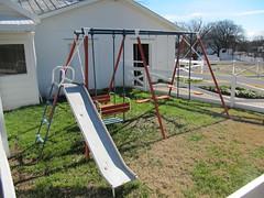backyard, outdoor play equipment, swing, playground slide, playground,