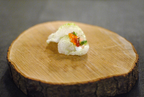 Buttermilk chicharron, trout roe, finger lime