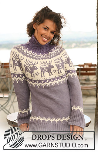 Reindeer Yoke Sweater by Drops Design