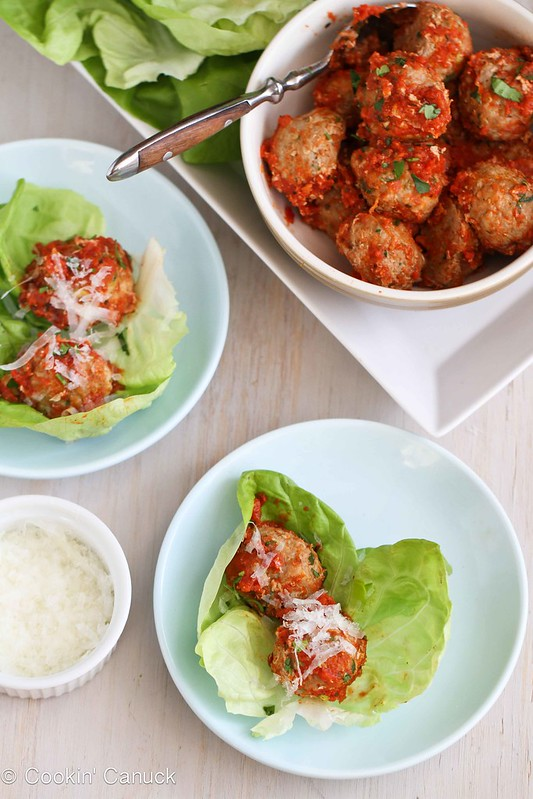 Spoon the meatballs and sauce into a bowl, serve alongside the lettuce ...