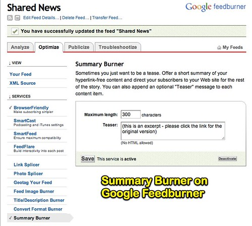 Summary Burner on Google Feedburner