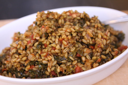 Freekeh with Kale, Tomato, and Garlic