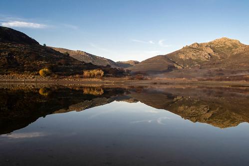 lake reflections landscape greece lemnos