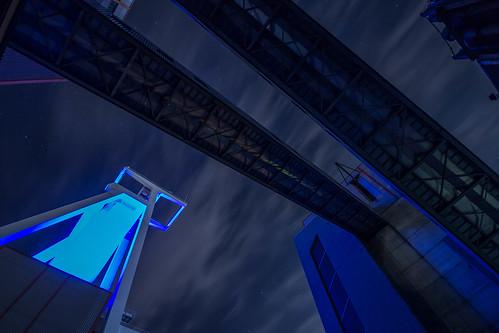 grube göttelborn mining area night stars longexposure langzeitbelichtung nacht sterne architektur outdoor gebäudestruktur infrastruktur gebäude