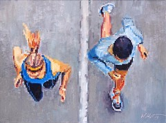 """""""Couple Running Together"""" now available at UGallery.com/Warren-Keating #ugalleryondisplay #aerial #figurativeart #impressionism #interiordesign #artcollector"""
