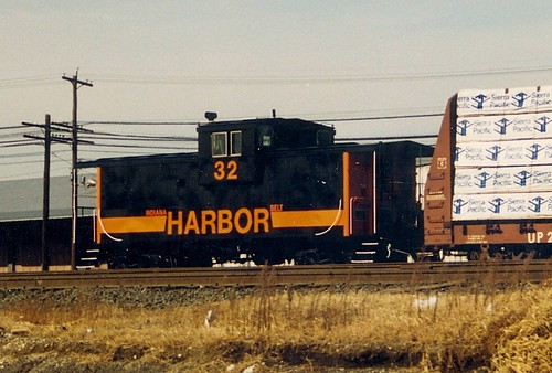 Indiana Harbor Belt Railroad wide vision caboose entering the Burlington Northern Railroad's Clyde Yard.  Cicero Illinois.  November 1988. by Eddie from Chicago