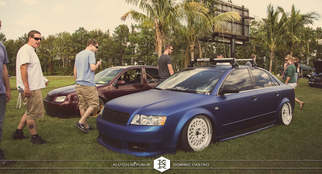 matte blue b6 audi a4 s4 white work wheels at h2oI 2012 3pc wheels static airride low slammed coilovers stance stanced hellaflush poke tuck negative postive camber fitment fitted tire stretch laid out hard parked seen on klutch republik