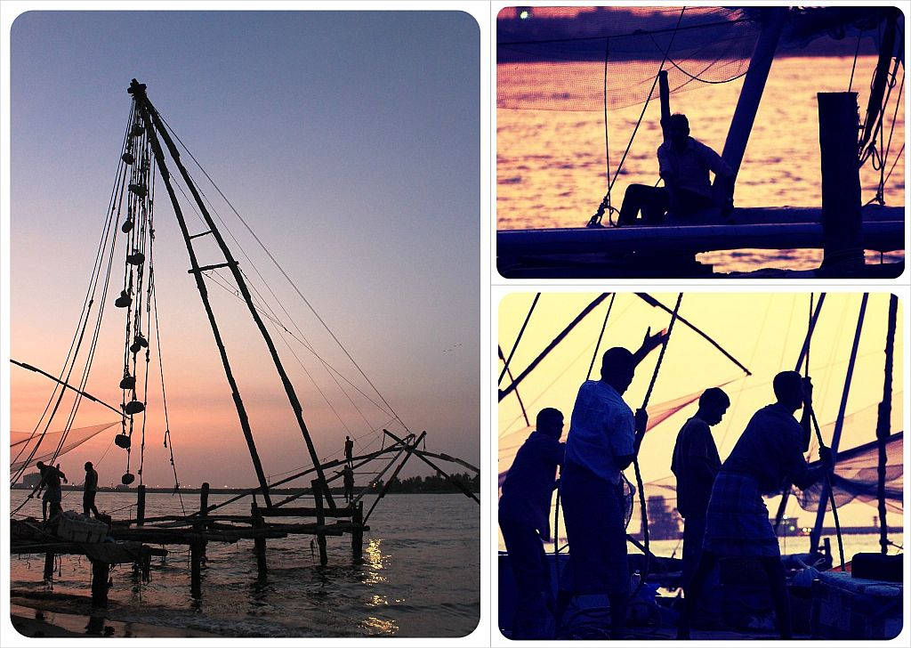 Fort Cochin Fishermen at sunset