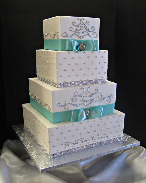 Elegant Tiffany Blue and White Square Wedding Cake with Bling