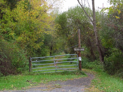 The gate that keeps motorized vehicles off the trail near Klem Road
