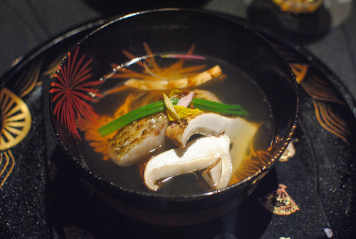 Ichiban Dashi Soup with Grilled Seaperch and Matsutake Mushrooms in Autumn Presentation