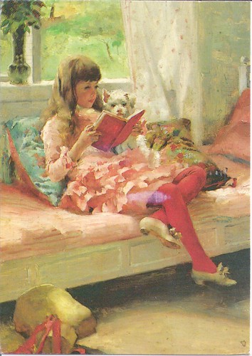 Girl & Dog Reading Albert Edelfalt