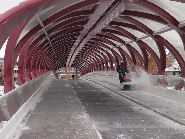 Clearing sidewalk on Peace Bridge