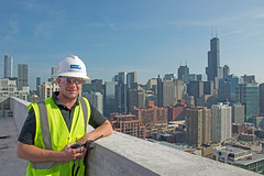 Owen Smith, McHugh Construction, on the roof at K2