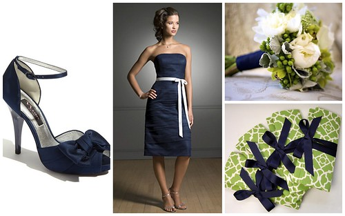 {Navy + Green + White} Bridesmaids' Style