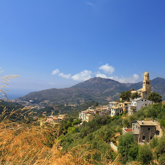 Picturesque Legnaro high on a hill above the Ligurian Sea