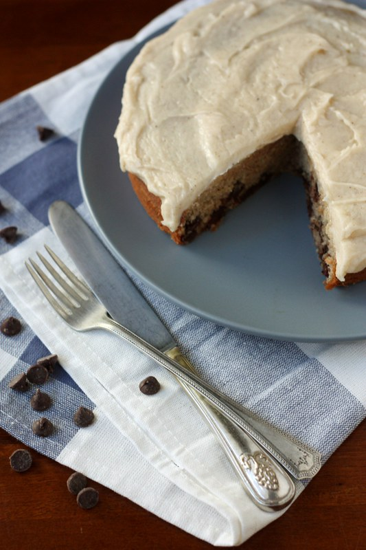 Banana Chocolate Chip Cake with Brown Butter Icing