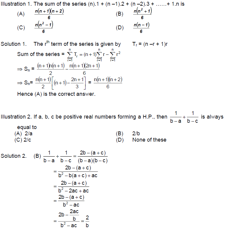 Some Objective Problems Progression and Series