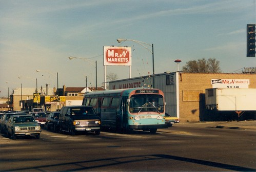 Suburban Transit GM fishbowl windshield bus at South Archer and Harlem Avenues.  Chicago Illinois.  April 1988. by Eddie from Chicago