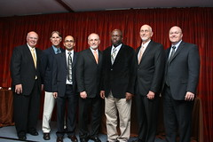 Tom Gallagher, Sushil Adhikari, Mark Hall, Oladiran Fasina, Steven E. Taylor and Christopher Roberts pose for a photo.