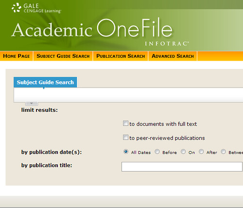 screenshot: Academic OneFile page with search box and limiters