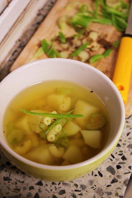 Potato Soup with Celery and Macaroni