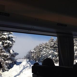 雪と青空のコントラストが綺麗な車窓を堪能…などと言ってられたのも岩見沢まで。