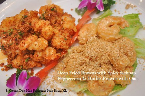 B Deep Fried Prawns with Spicy Sichuan Peppercorn and Butter Prawns with Oats