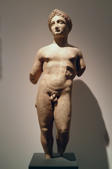 Statue of a naked youth, about 300-100 BC, his hairstyle suggests he might be the god Apollo, from Cyprus, Ashmolean Museum