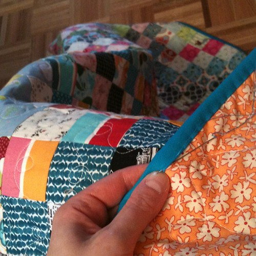 Finally binding #scrappytripalong. Listening to CBC and getting mentally prepared to do some work-work