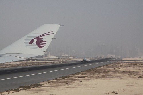 Waiting for an arriving jet to clear runway 33 at Doha before we take off