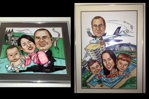 An old client with his family caricatures done by Jit over the years