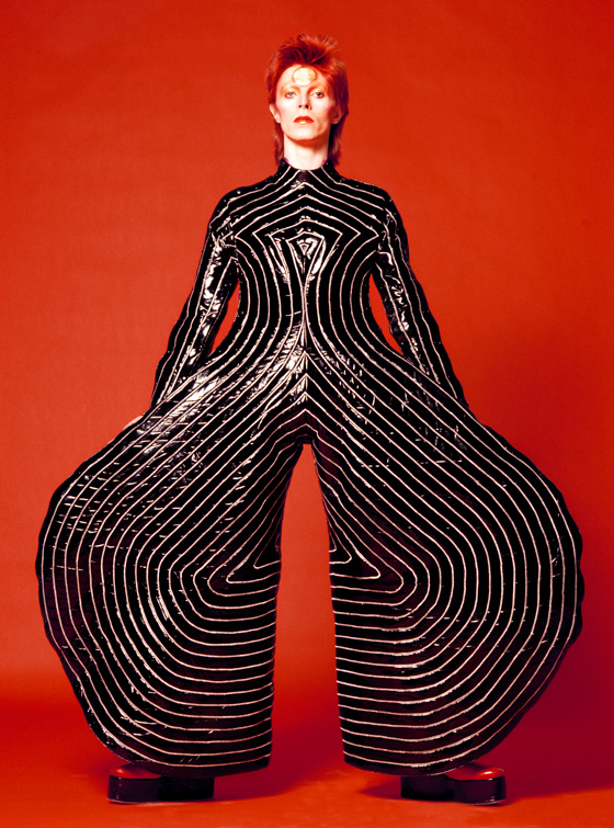 Striped bodysuit for Aladdin Sane tour 1973. Design by Kansai Yamamoto. Photo by Masayoshi Sukita. Courtesy of the David Bowie Archive 2012
