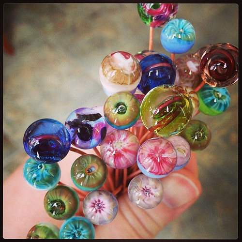Glass headpin bouquet #lampwork #glassaddictions Jennifer Cameron