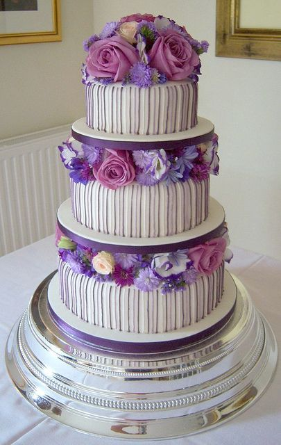 Classy Purple and Lilac Striped Wedding Cake from Handmade by Hannah