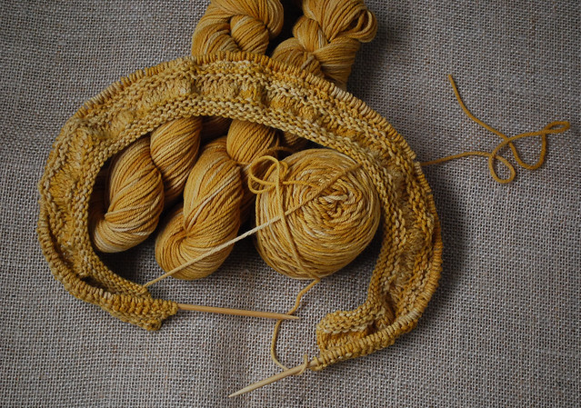 tea leaves cardigan in progresswith naturally dyed yarn