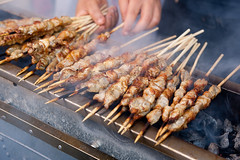 barbecue(0.0), fish(0.0), seafood(0.0), barbecue grill(0.0), grilling(1.0), street food(1.0), brochette(1.0), meat(1.0), food(1.0), arrosticini(1.0), dish(1.0), shashlik(1.0), yakitori(1.0), kebab(1.0), cuisine(1.0), cooking(1.0), skewer(1.0), satay(1.0), grilled food(1.0),
