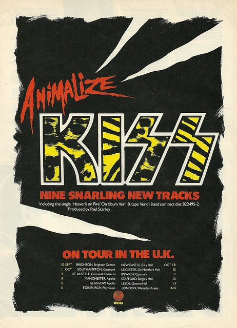 09/30/84 - 10/15/84 Kiss Animalize UK Tour