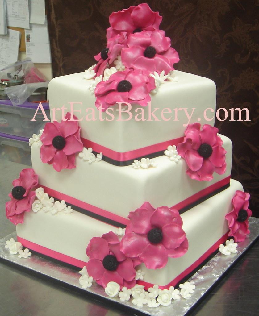 Three tier square off set white fondant unique wedding cake with ...