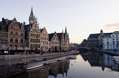 Ghent's city centre at the harbour