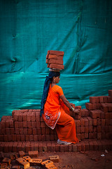 Loading up bricks, Building site, Vasant Vihar, New Delhi, India (October 2012)