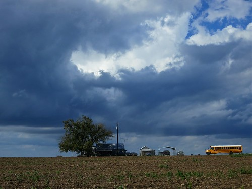school sky storm bus tree field clouds farm crop