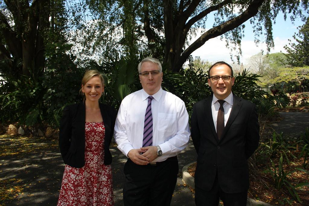 Senator Larissa Waters, Alex Scott of the Together Union and Adam Bandt MP